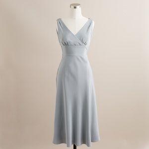 J Crew Silk Tricotine Sophia Dress in Light Pewter